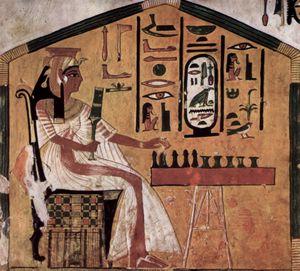 Queen Nefertari of Egypt playing chess.