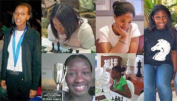 clockwise: Boikhutso Mudongo (Botswana), Medina Parrilla (USA), Sabrina Chevannes (England), Brianna Conley (USA), Deborah Richards (Jamaica), Jessica Wamala (USA)