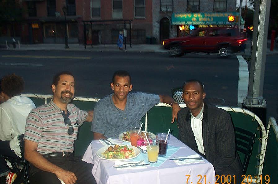 David Diamond, Stephen Muhammad and Daaim Shabazz at dinner