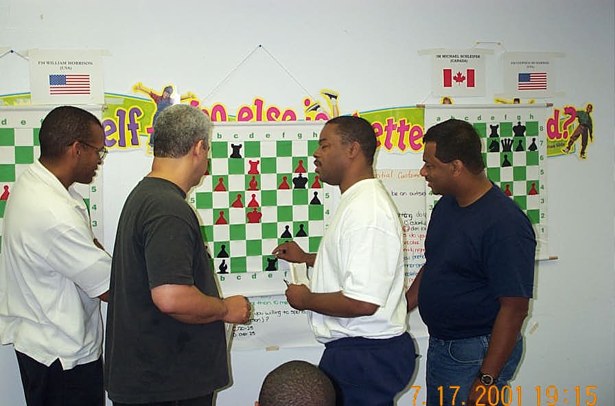 Analysis of Colding-Morrison game. (L-R) FM Stephen Muhammad, NM Ernest Colding, FM William Morrison and FM Ronald Simpson. Copyright ©, Daaim Shabazz.