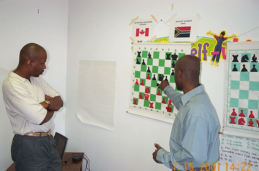 NMs Elvin Wilson and Jerald Times analyzing Schleifer-Kobese match. Copyright ©, Daaim Shabazz.
