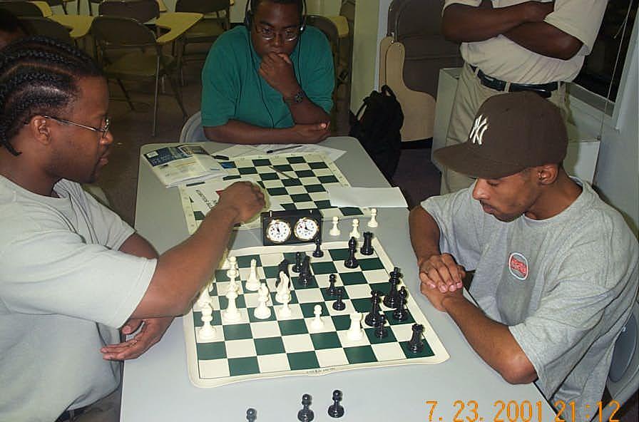 Post-tournament match. . . GM Ashley vs. FM Solomon. Copyright ©, Daaim Shabazz.