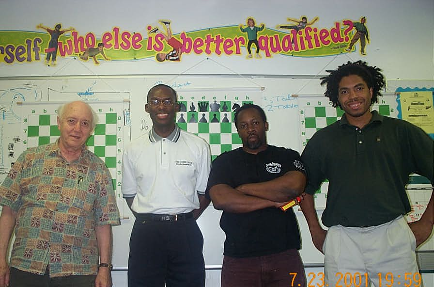 Tournament laborers: Jerry Bibuld (Arbiter), Daaim Shabazz (The Chess Drum), Beejay Hicks (tournament hall manager), Jeffery Mitchell (Deputy Arbiter). Copyright ©, Daaim Shabazz.
