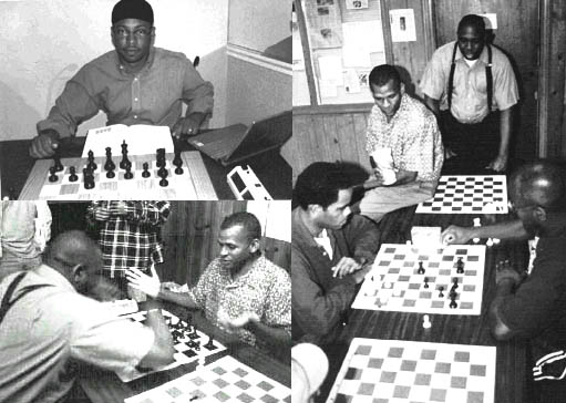 Clockwise: Frank Johnson at one of his many study sessions with Shredder. A blitz session between a determined Issac Hinch (L) and a trash-talkin' Donald Jackson (R) draws an audience of FM Stephen Muhammad and Sulaiman Smith (standing). Smith and Muhammad set battle into motion with a 3-minute match of their own. Did Sulaiman knock over the pieces again??