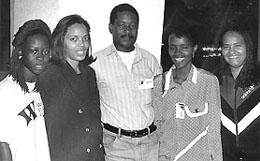 The Angolan Women's Team with IM Manuel Mateus; 1996 Chess Olympiad, Armenia. L-R: Engracia de Jesus, Paulete Cabral, MI Manuel Mateus, Sandra Venancio and Maria da Luz. Copyright © 1996, Jerome Bibuld.