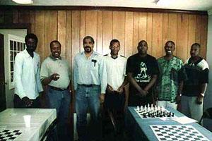 Participants of Georgia State Championship. (L-R) Damon Baldwin, NM Terrance DePeaza, Leonard Dickerson, FM Stephen Muhammad, Sulaiman Smith, Daaim Shabazz, and NM Elvin Wilson. Copyright © 2001, Frank Johnson.