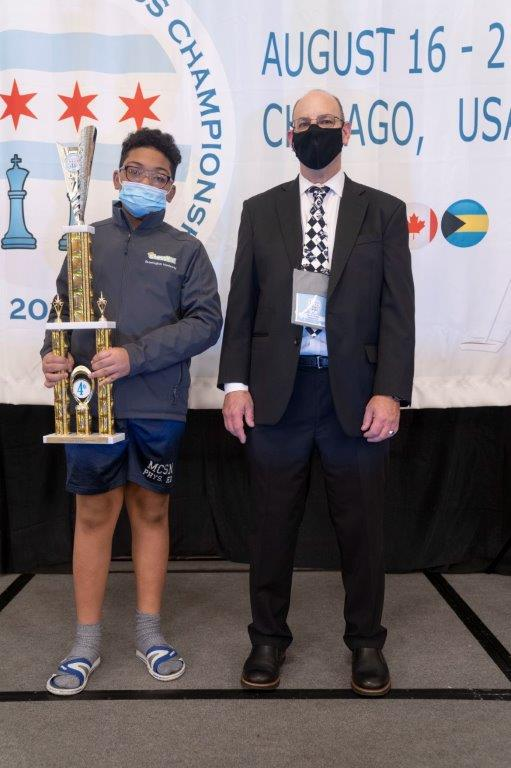 Brewington Hardaway wins 4th place at NAYCC in Chicago. Photo by Renaissance Knights Chess.