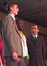 Dawit Wondimu having just received silver medal at 2000 Olympiad.