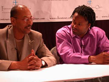Don Colbert (L) in a post-Foxwoods interview with GM Maurice Ashley. GM Ashley qualified for the U.S. Championship. Photo courtesy of Don Colbert.