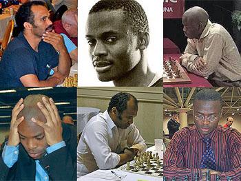 (clockwise L-R) IM Emory Tate, GM-elect Amon Simutowe, GM Pontus Carlsson, GM-elect Amon Simutowe, IM Emory Tate, GM Pontus Carlsson