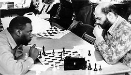 Nathan Jackson facing the late Mark Meeres in the 4th African-America Unity tournament. Copyright © 1992, Jerome Bibuld.