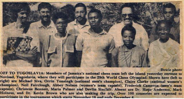 Jamaican Olympiad team for 1990 Chess Olympiad in Novi Sad, Yugoslavia.