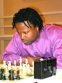 GM Maurice Ashley at 2002 Foxwoods Open. Copyright � 2002, Jerome Bibuld.