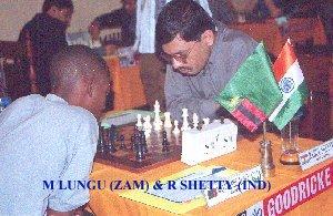 Malupande Lungu playing Rahul Shetty in the 2001 Goodricke Invitational in India.