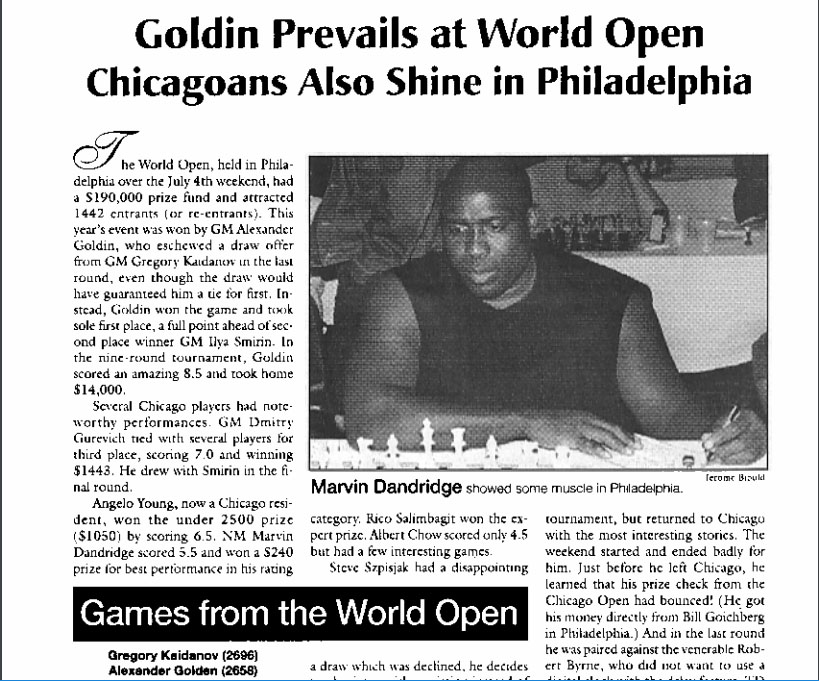 Marvin Dandridge at 1998 World Open in Philadelphia.