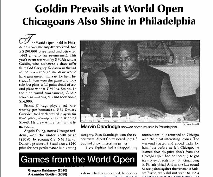 Marvin Dandridge at 1998 World Open in Philadelphia.