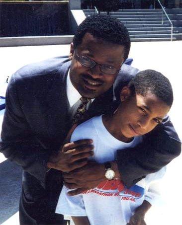 GM Maurice Ashley with Akeem Gregory-Thompson. Photo courtesy of Bruce Thompson, Sr.