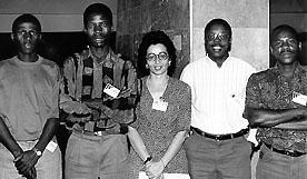 The Mozambican men's team; 1996 Chess Olympiad, Armenia. Copyright © 1996, Jerome Bibuld.