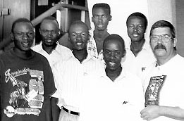 The Ugandan men's team; 1996 Chess Olympiad, Armenia. Copyright © 1996, Jerome Bibuld.