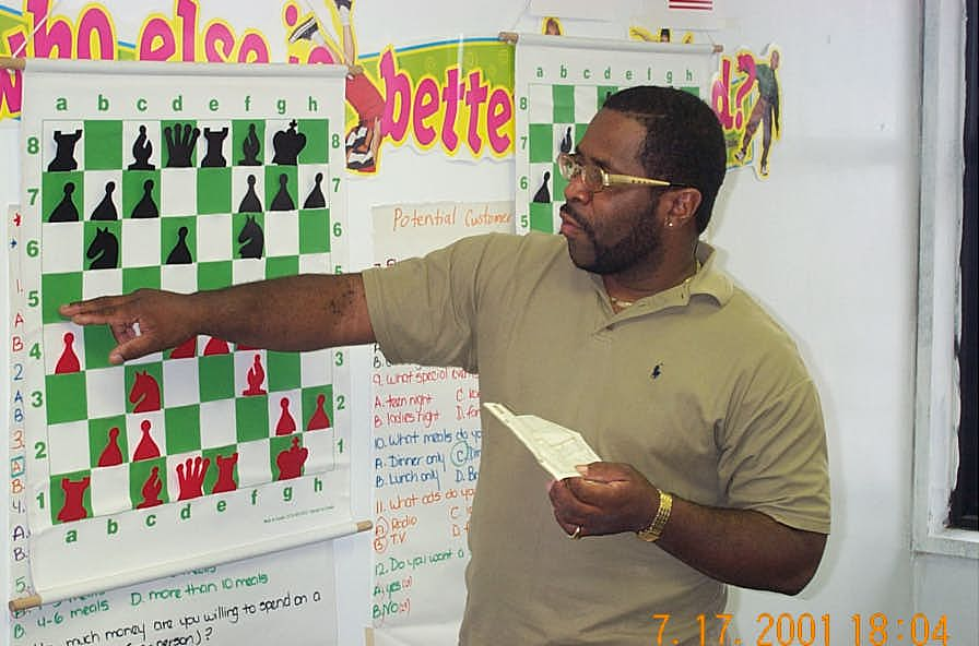 NM Norman 'Pete' Rogers analyzing at the Wilbert Paige Memorial, July 2001.