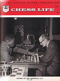 Walter Harris is shown playing William Slater at the Marshall Chess Club in 1964. The caption identified Harris as the first