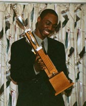 FM Warren Elliott after having received the 2001 'Player of the Year' award.