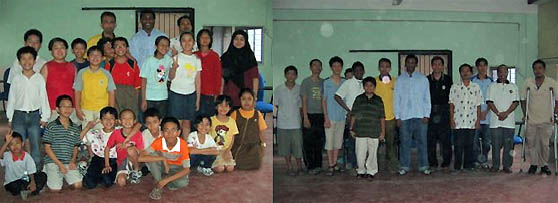 IM Robert Gwaze pictured with Malaysian beginning students (left) and the advanced students (on right).