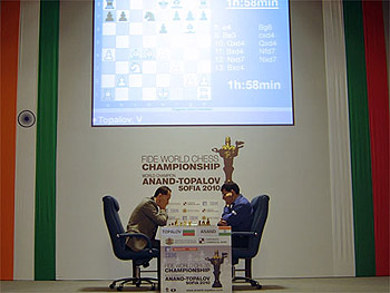 Topalov and Anand square in a pivotal 5th game. Photo by ChessBase.