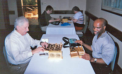 Alan Dicey vs. Michael Davis at the 2004 U.S. Blind Championship. Davis won the game enroute to a 4-0 performance and his first championship.