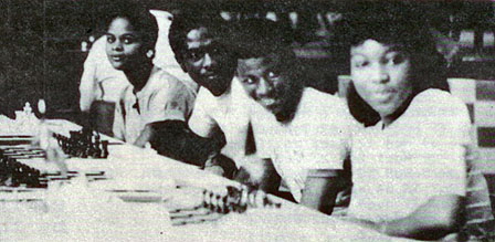 The Bahamian Youth Team at the 1983 World Youth Team Championship, Chicago Illinois. L-R: Juliette Storr, Anthony Moss, Percy Rolle, Antoinette Seymour.