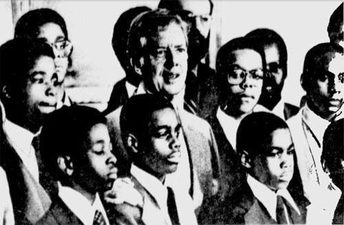 Vaux Junior High School chess team with President Jimmy Carter.