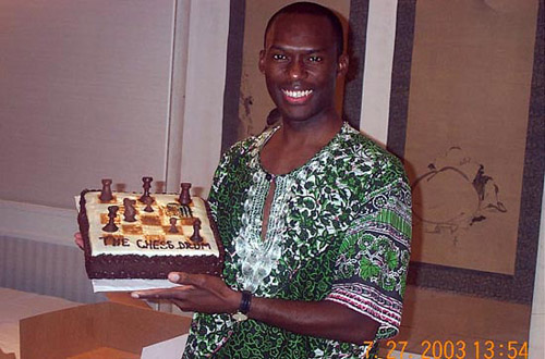 "The ""eternal"" birthday cake presented to me in 2003 by Kay Umeakunne. This was the nicest gift I had ever received in appreciation for The Chess Drum! It was delicious! :-D"