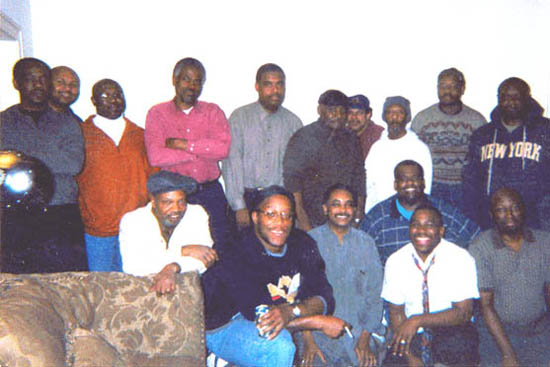 From left to right and back to front: Allen Stewart, Kevin Lawson, Jay Porter, Sam Ford, Patrick Magee, Roland Jordan, Tyrone Lee, Carlos Lee, John Porter, Charles Walker, Bill Crawford, Sidney Davis, Eric Johnson, George Coleman, Aderemi Adekola, and Kent Williams.