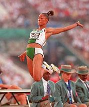 Chioma Ajunwa (Nigeria), long-jump gold medallist at 1996 Olympics. Photo by Al Tielemans.