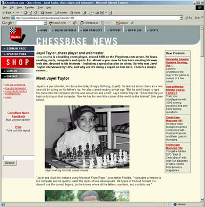 Jayel Taylor featured on ChessBase.com.