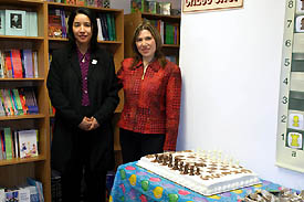 Kay Umeakunne with GM Susan Polgar at the Grand Opening.