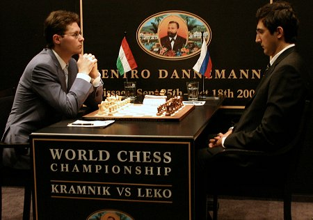 GM Peter Leko and GM Vladimir Kramnik prepare to face off before the 1st game of their World Championship Match.