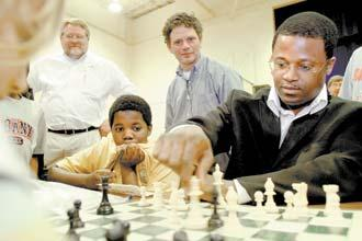 GM Maurice Ashley in Columbia, South Carolina as part of his cross-country tour in promoting chess. Photo by C. Aluka, TheState.com.