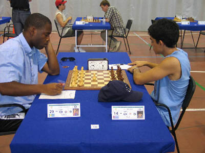 FM Pontus Carlsson of Sweden (left) playing against IM Yuri Gonzalez of Cuba. The game was drawn.