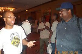 Bernard Parham II (left) with Peter Roberts at 2002 World Open.