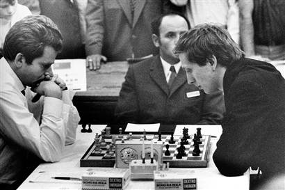 Robert James Fischer (right) playing Boris Spassky in the 1972 World Championship Chess match.
