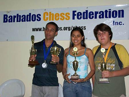 FM Isam Ortiz (Cuba), WIM Nadya Ortiz (Columbia) and Luis Ibarra (Mexico) flash their trophies at the closing ceremonies.