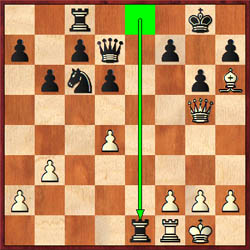 Ronnie starts a sequence of moves by trading down material in a winning position with 29…Rxe1, but later overlooked a mate. Of course, 34…Qe5+ would have forced an exchange of queens.