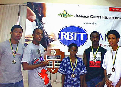 Prize winners from left: Christopher Buchanan (2nd Under 18), Brandon Wilson (1st Under 18), Philip Pryce (3rd Under 16), Damion Davy (2nd Under 16) and Walter Willams (1st Under 16 and 3rd Under 18).