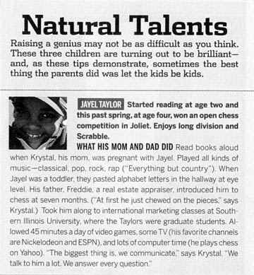 Jayel Taylor was featured in the September 2004 issue of the Chicago magazine.