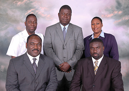 Seated from left to right: Kean Alfred Smith, President and Phillip Paul, Vice-President. Standing from left to right: Hiram Victor, Treasurer, Milton Evans - Council Member and Karen Butler - Secretary.