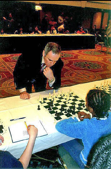Darrian Robinson playing Garry Kasparov in simul at All-Girls Nationals.
