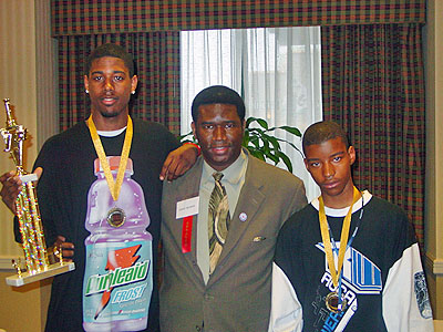 Aaron Porter (L) and Xavier Graham (R) pose with Orrin C. Hudson of BeSomeone, Inc. Copyright ©  2006, BeSomeone, Inc.