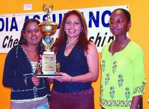 Above photo: Heartbeat 103.5FM representative Gita Bootoor (centre) handing over the Heartbeat 103.5FM Challenge Trophy to joint women's national chess champions Aditi Soondarsingh (left) and Jane Kennedy. Photo by Trinidad and Tobago Chess Federation.