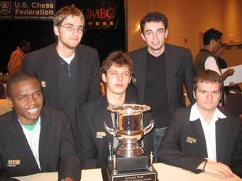 UTD, 2006 Pan-Am Intercollegiate Champions.  Seated L-R: Amon Simutowe, Jacek Stopa and Marko Zivanic. Standing L-R: Davorin Kuljasevic and Dmitry Schneider.